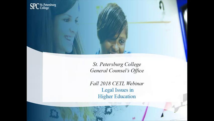 Legal Concerns within the Faculty Role, 10-02-18